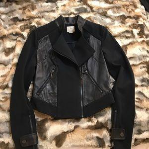 a. moss Jackets & Blazers - A. Moss Leather Trim Ponte Moto Jacket