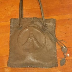 Rare A. Tsagas Deerskin Learher Bag Tote Peace