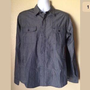 Ezekiel Other - Ezekiel Gray Blue Pinstripe Shirt Button Front M