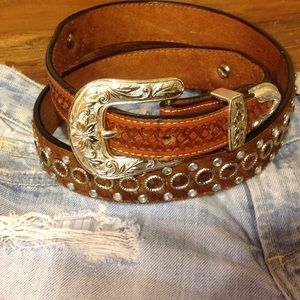 Leather Bling Cowgirl Belt