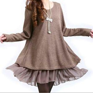 Sweaters - Khaki Chiffon Layered Sweater w/ Bows on the Back