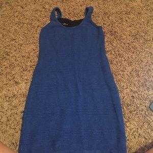 S/P blue mini bodycon dress w/ black strap in back