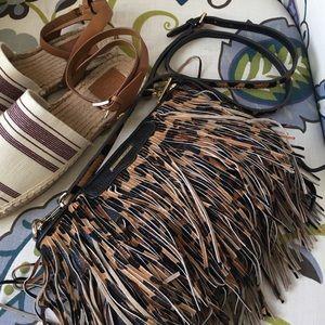 Rebecca Minkoff Handbags - Rebecca Minkoff Leopard Fringe 'Finn' Crossbody
