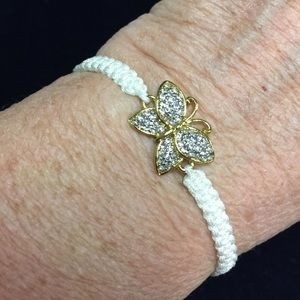 Jewelry - White Braided Butterfly Gold & Crystal Bracelet