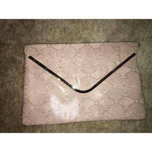 Snakeskin large envelope clutch