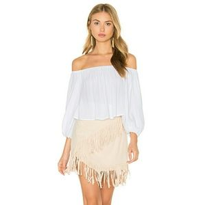 1. STATE Faux Suede Fringe Skirt