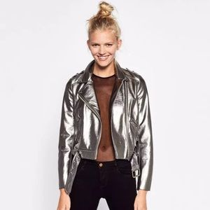 Zara Jackets & Blazers - BNWT Zara Metallic Leather Biker Jacket
