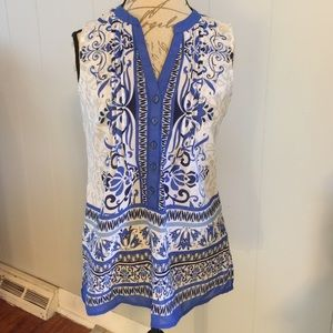 Sunny Leigh Tops - Ladies blue and white blouse