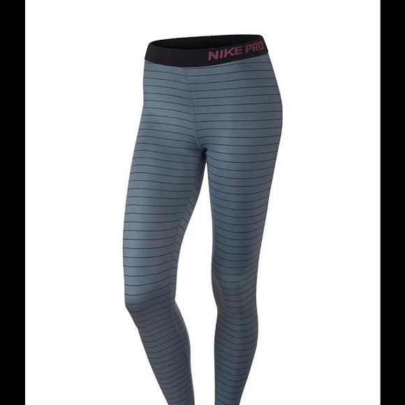 87bda4d846aa55 Nike Pants | Womens Pro Hyperwarm Stripe Graphiteblack | Poshmark