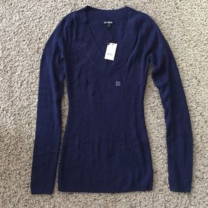 Express Sweaters - Express Fitted Deep V Neck Sweater - Navy