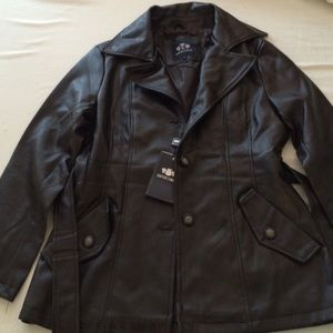NWT Emporio & CO brown leather jacket size S