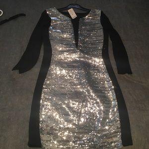 Bebe 3 way sequin mesh dress