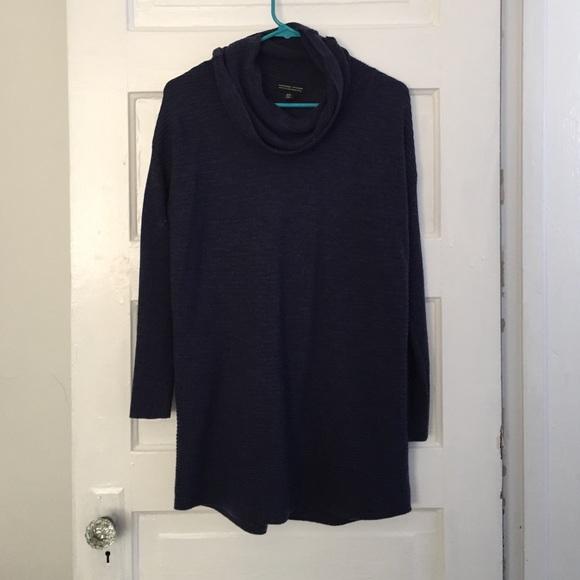 Adrienne Vittadini - Merino Wool Cowl Neck Sweater Navy Blue SM ...