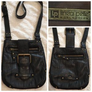 Linea Pelle Handbags - Linea Pelle black leather cross body bag