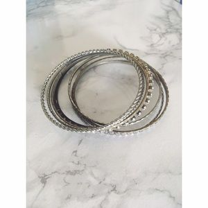 Francesca's Collections Jewelry - Set of 7 Silver Bangles