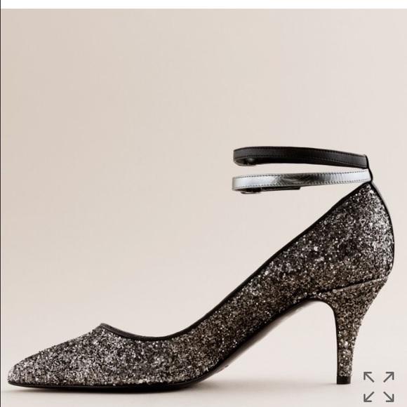 f3e6dfcc2 J. Crew Shoes | Jcrew Starla Glitter Heel With Double Ankle Strap ...