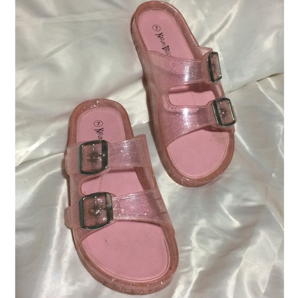 e4518ee1a50 Pink Sparkle Jelly Birkenstock Slip On Sandals. M 5867e8d6620ff7fa7707a486