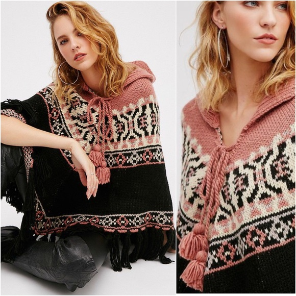 80% off Free People Sweaters - 'High Life' Fair Isle Knit Poncho ...