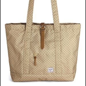 Herschel Supply Company Handbags - Herschel brand handbag tan w/ blue polka dots