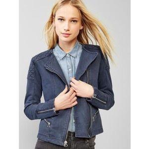 GAP Jackets & Blazers - GAP NWT Quilted Detail Navy Knit Moto Jacket