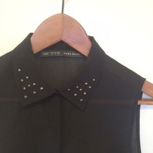 Zara Studded collar blouse