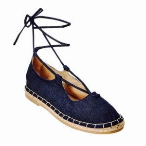Catherine Malandrino Shoes - NEW Catherine Malandrino Ankle Tie Denim Flats