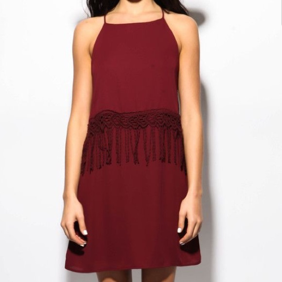 Sage Dresses - Maroon Fringe Dress Size M