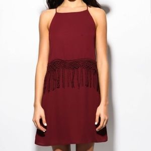 Sage Dresses & Skirts - Maroon Fringe Dress Size M