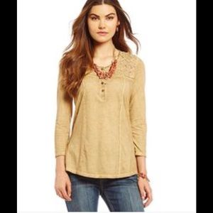 "Reba Tops - Reba ""Desert Sunset"" almond knit top"