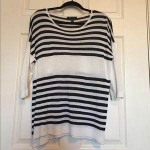 Mango Black and White Striped Sweater Size M