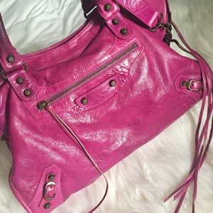 Balenciaga Handbags - BALENCIAGA Magenta Leather City Bag