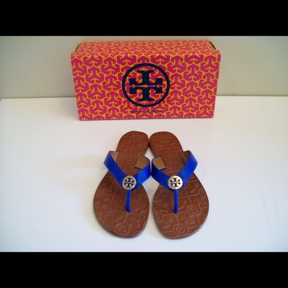 1dbbf93ecc80e Tory Burch Thora Leather Blue Sandals New Box Sz 6