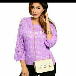 Cute lavender knitted sweater w/ dolman sleeves