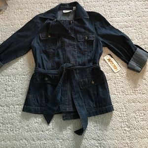 Krush Tops - NWT!! Button-up denim jacket with waist-tie!