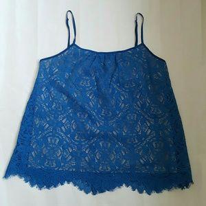 Susana Monaco Tops - Susana Monaco Royal Blue Lace Tank Top
