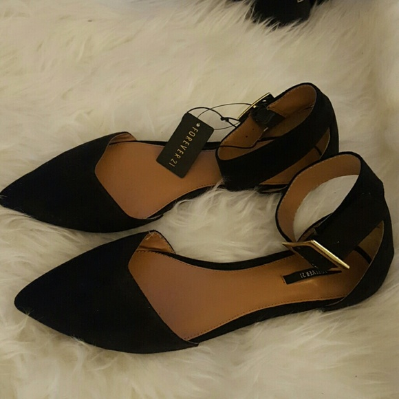8c28de0c1 Forever 21 Shoes | Pointed Toe Black Flats With Thick Ankle Strap ...