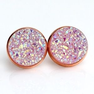 thejeweladdict Jewelry - 3 for 15🎀lightLavender faux druzy rose gold studs
