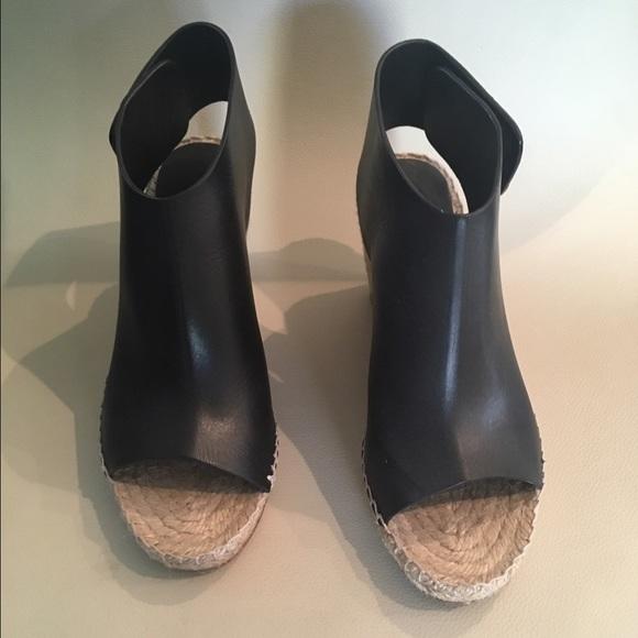 2f33cb2f749 Celine Shoes - Celine black leather espadrilles wedge