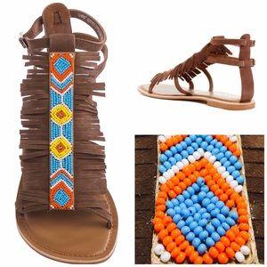 Matisse Fringe Suede Beaded Boho Sandals