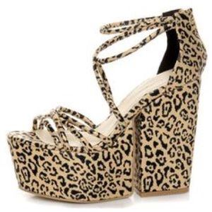C. Label  Shoes - NWT PLATFORM CHUNKY DARK CHEETAH HEELS