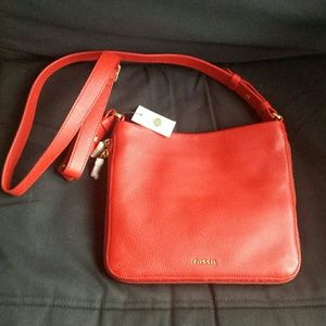 Fossil Handbags - NWT FOSSIL crossbody bag in beautiful red leather