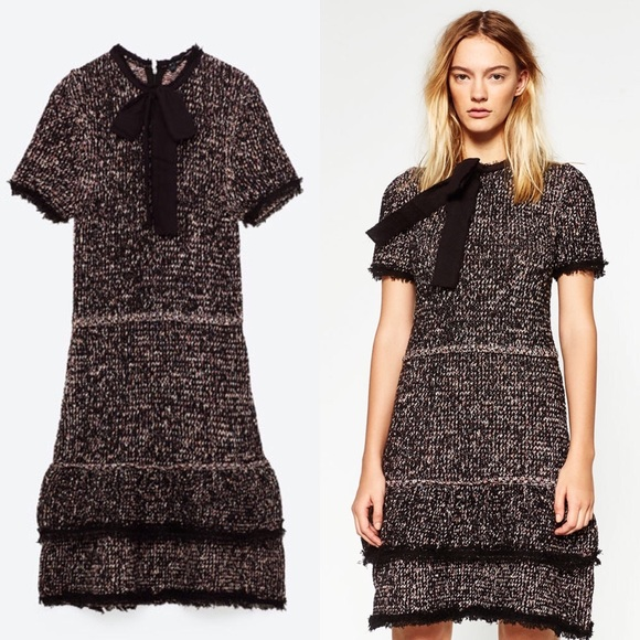4c294f4c Zara Dresses | Tweed Frill Dress With Bow | Poshmark