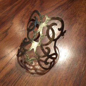 Aged brass bracelet cuff