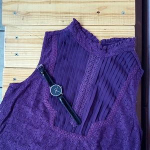 Tops - S MAROON LACE TOP