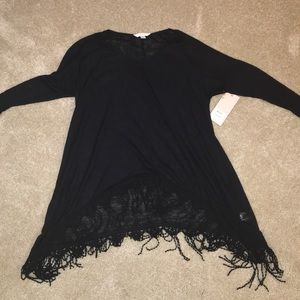 BLACK FRINGE SWEATER (NWT)