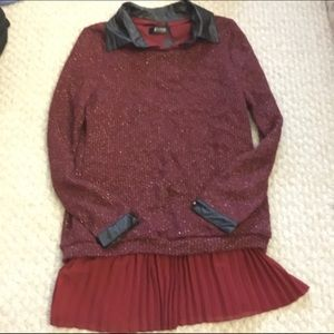 Maroon Red sweater with black leather trim