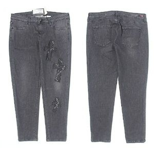 Love Moschino Denim - Love Moschino Lace Cross Cut Out Jeans
