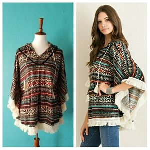 Entro Ethnic Fringe Hooded Poncho