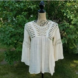 Hand Crocheted Boho Peasant Top