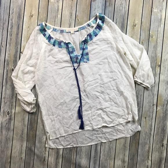 Love Stitch Tops - Love Stitch Peasant Embroidered Top